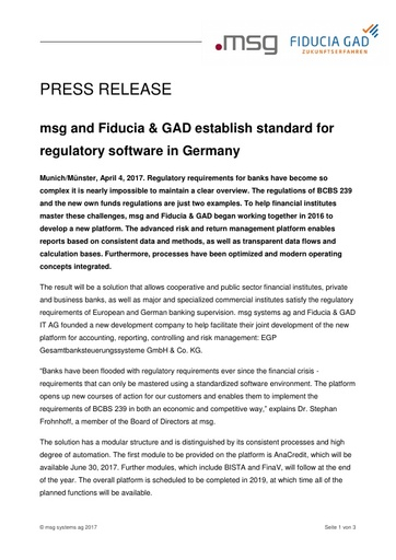 msg and Fiducia & GAD establish standard for regulatory software in Germany