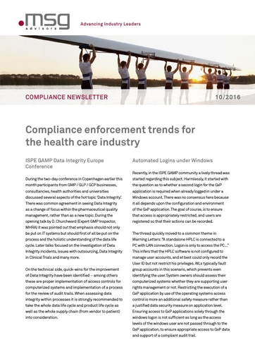 Ausgabe 10-2016: Compliance enforcement trends for the health care industry