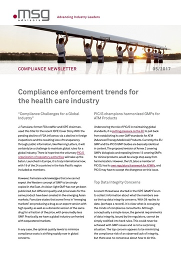 Ausgabe 05-2017: Compliance enforcement trends for the health care industry
