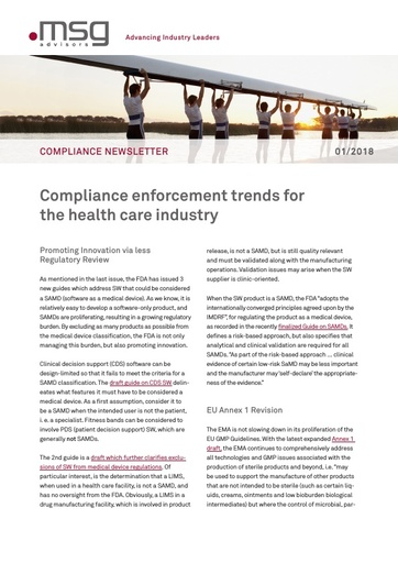 Ausgabe 01-2018: Compliance enforcement trends for the health care industry