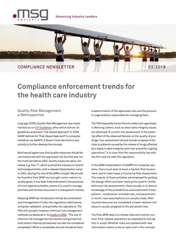 Ausgabe 03-2018: Compliance enforcement trends for the health care industry