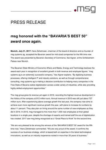 "msg honored with the ""BAVARIA'S BEST 50"" award once again."