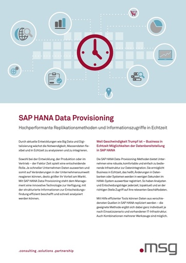 SAP HANA Data Provisioning