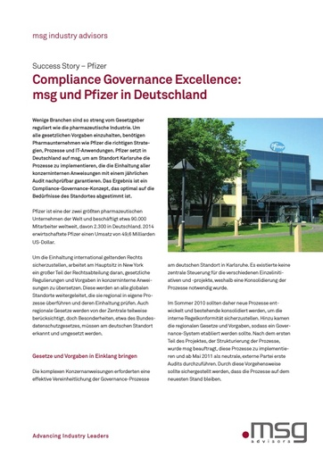 Pfizer - Compliance Governance Excellence: msg und Pfizer in Deutschland