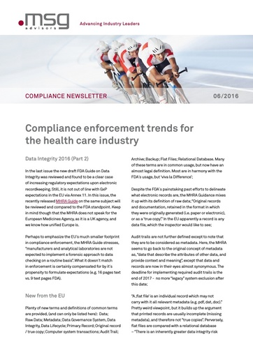 Ausgabe 06-2016: Compliance enforcement trends for the health care industry