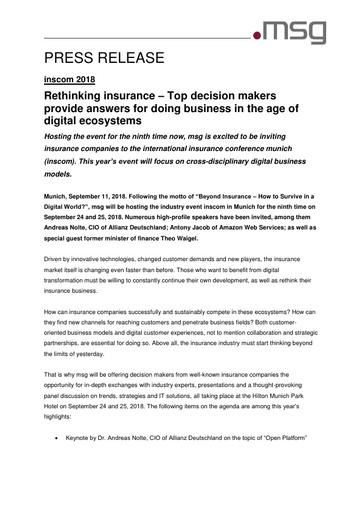 Rethinking insurance – Top decision makers provide answers for doing business in the age of digital ecosystems