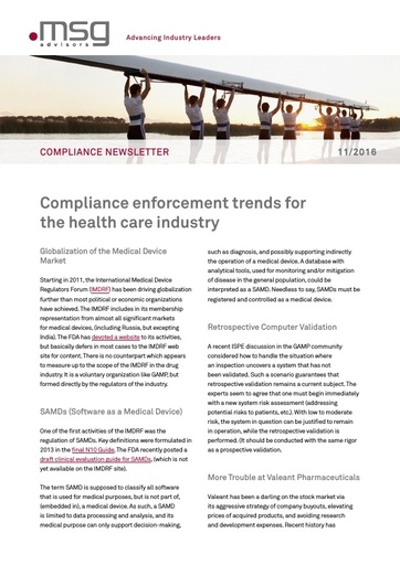 Ausgabe 11-2016: Compliance enforcement trends for the health care industry