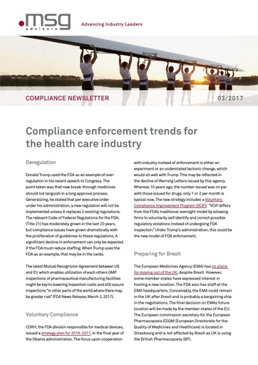 Ausgabe 03-2017: Compliance enforcement trends for the health care industry