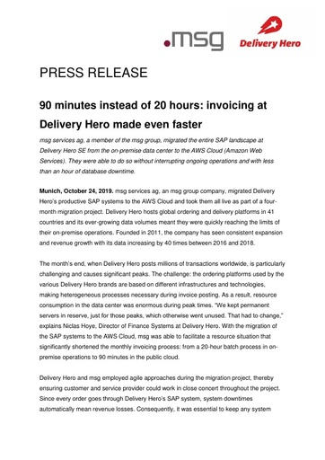 90 minutes instead of 20 hours: invoicing at Delivery Hero made even faster