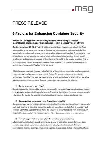 3 Factors for Enhancing Container Security