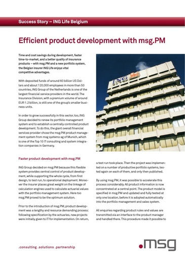 ING Life Belgium: Efficient product development with msg.PM