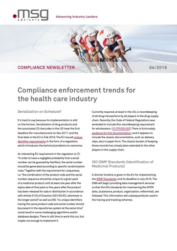 Ausgabe 04-2016: Compliance enforcement trends for the health care industry