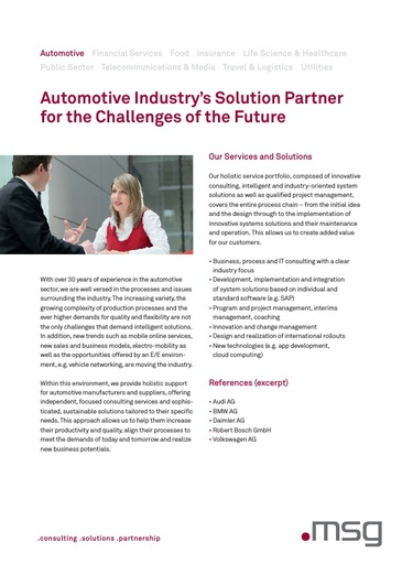 Automotive Industry's Solution Partner for the Challenges of the Future