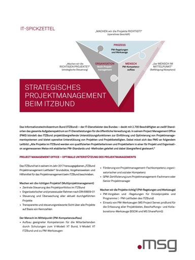 IT Spickzettel in der .public / Ausgabe 03-2018: Strategisches Projektmanagement beim ITZ Bund