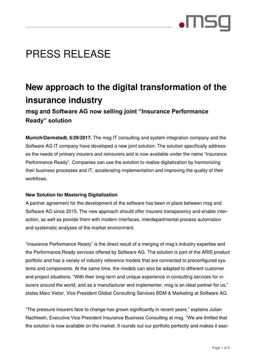 New approach to the digital transformation of the insurance industry