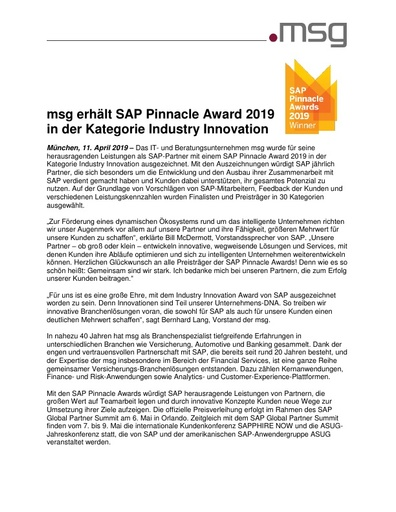 msg erhält SAP Pinnacle Award 2019 in der Kategorie Industry Innovation