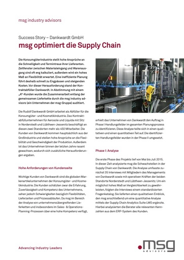 Dankwardt GmbH - msg optimiert die Supply Chain