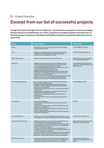 BI – Excerpt from our list of successful projects