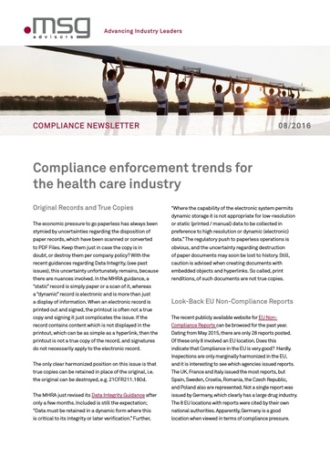Ausgabe 08-2016: Compliance enforcement trends for the health care industry