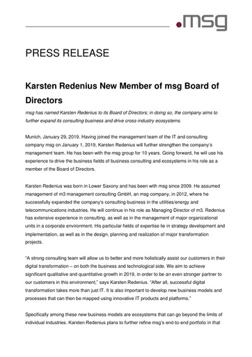 Karsten Redenius New Member of msg Board of Directors