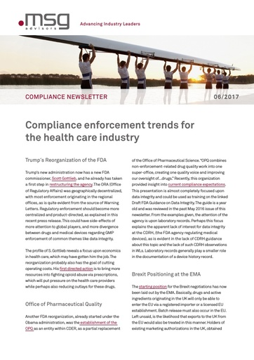 Ausgabe 06-2017: Compliance enforcement trends for the health care industry