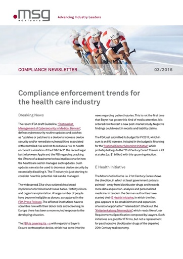 Ausgabe 03-2016: Compliance enforcement trends for the health care industry
