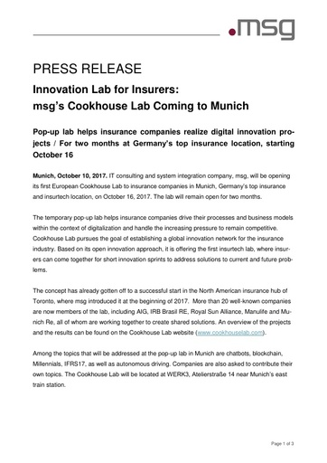 Innovation Lab for Insurers: msg's Cookhouse Lab Coming to Munich