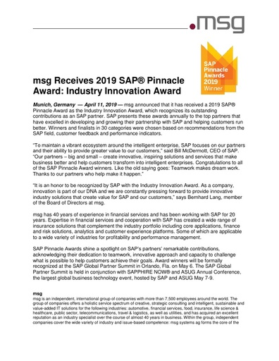 msg Receives 2019 SAP® Pinnacle Award Industry Innovation Award