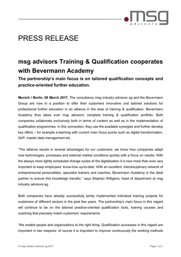 msg advisors Training & Qualification cooperates with Bevermann Academy