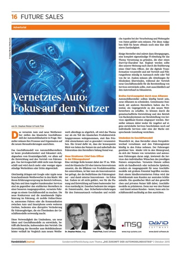 Beitrag zu Connected Cars im Handelsblatt Journal 10/2015