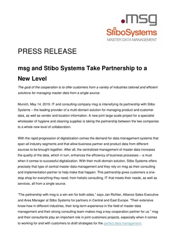 msg and Stibo Systems Take Partnership to a New Level