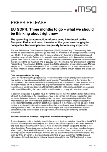 EU GDPR: Three months to go – what we should be thinking about right now