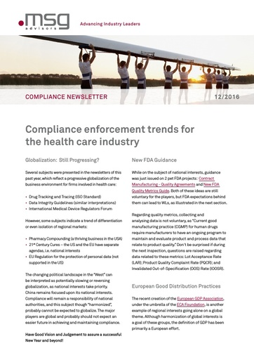 Ausgabe 12-2016: Compliance enforcement trends for the health care industry
