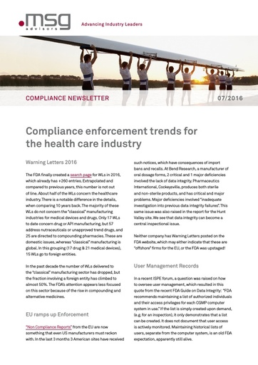 Ausgabe 07-2016: Compliance enforcement trends for the health care industry