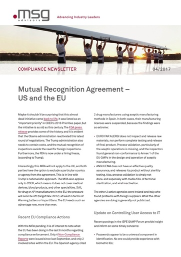 Ausgabe 04-2017: Mutual Recognition Agreement – US and the EU