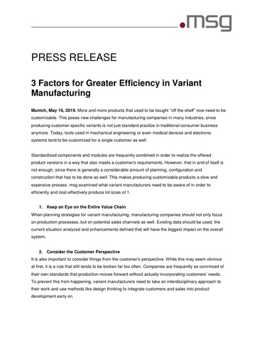3 Factors for Greater Efficiency in Variant Manufacturing