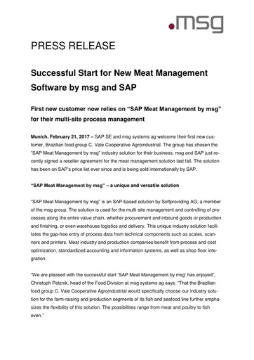 Successful Start for New Meat Management Software by msg and SAP
