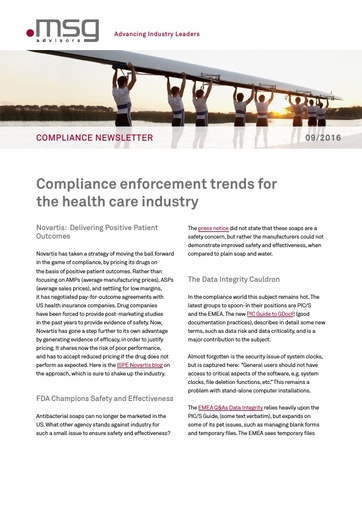 Ausgabe 09-2016: Compliance enforcement trends for the health care industry
