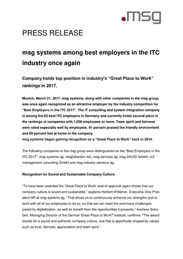 msg systems among best employers in the ITC industry once again