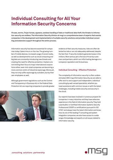 Individual Consulting for All Your Information Security Concerns