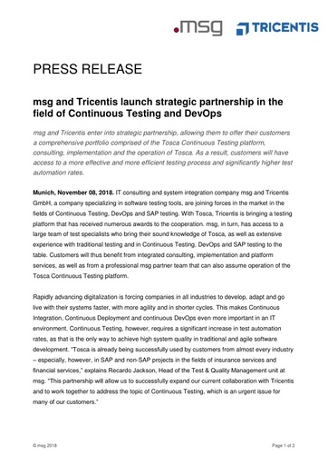 msg and Tricentis launch strategic partnership in the field of Continuous Testing and DevOps